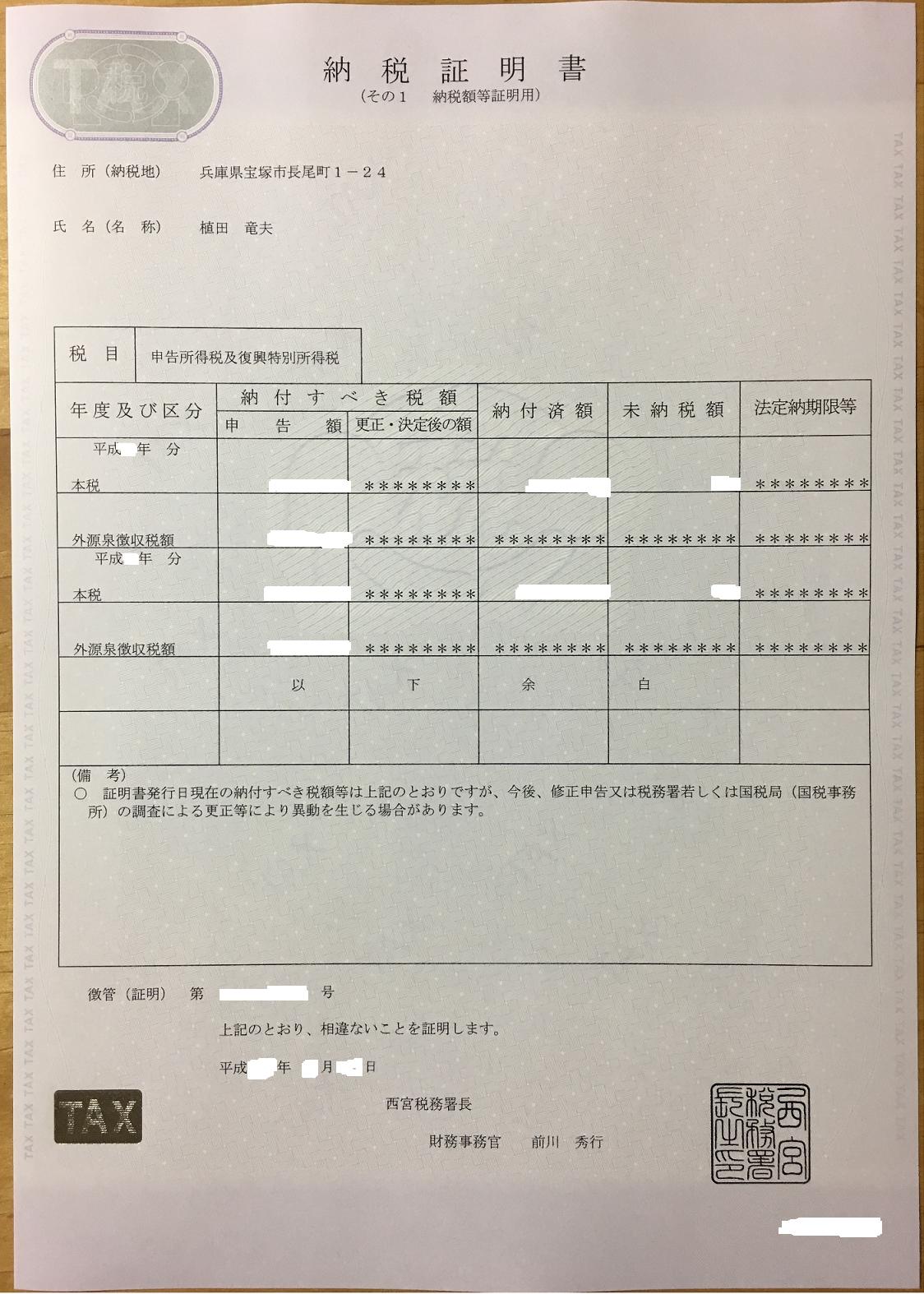 請求 納税 交付 書 書 証明 静岡県/納税証明書